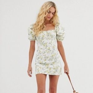 & Other Stories Puff Sleeve Floral Mini Dress